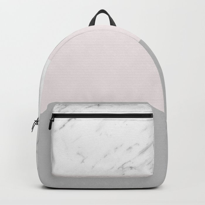 Pastel striping - soft grey marble Backpack