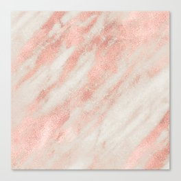 Desert Rose Gold Pink Marble Canvas Print