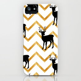 Deer Silhouette on Zigzag Background iPhone Case