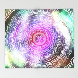 Modern Mandala Spiral Galaxy Space Textured Multi Colored / Pink Green Gray Black Throw Blanket