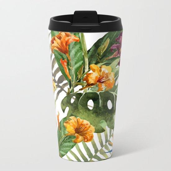 Tropical Floral Pattern 01 Metal Travel Mug