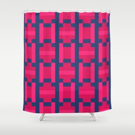 PUZZLE bright red and pink shapes on navy blue background Shower Curtain