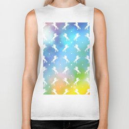 rainbow unicorn galaxy Biker Tank