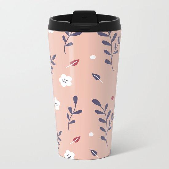 Pink Garden Metal Travel Mug