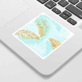 Aloha - Tropical Palm Leaves and Gold Metal Foil Leaf Garden Sticker