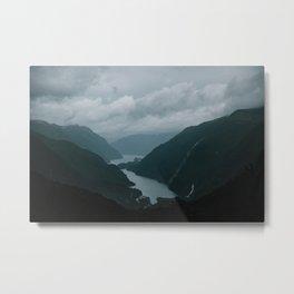 New Zealand - Te Anau, Doubtful sound water & mountains in the mist  Metal Print