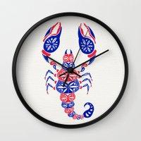 patriotic Wall Clocks featuring Patriotic Scorpion by Cat Coquillette