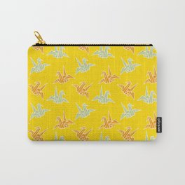 Yellow Origami Crane Japanese Kimono Pattern Carry-All Pouch