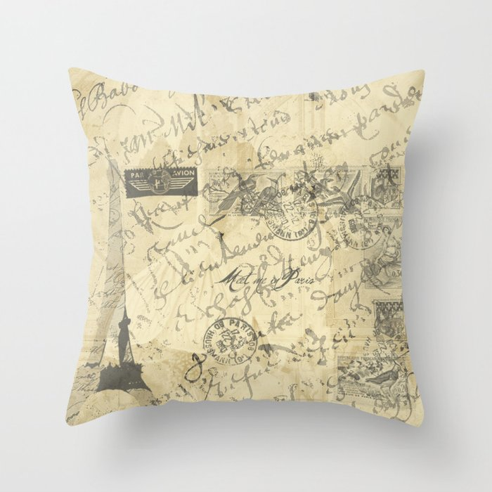 Parisian French Script Throw Pillow