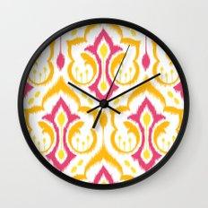 Ikat Damask - Berry Brights Wall Clock
