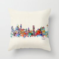 liverpool Throw Pillows featuring liverpool city skyline by bri.buckley
