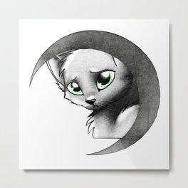 Cat & Moon Metal Print