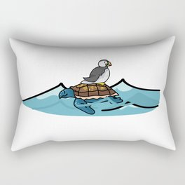 Puffin riding turtle cartoon illustration motif set. Rectangular Pillow
