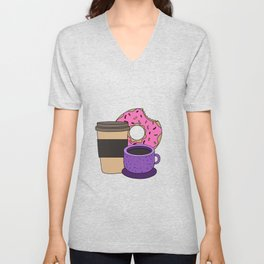 coffee donut Latte Macchiato Cappuccino Caffeine Unisex V-Neck
