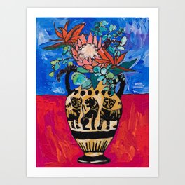 Lions and Tigers Vase with Protea Bouquet Kunstdrucke