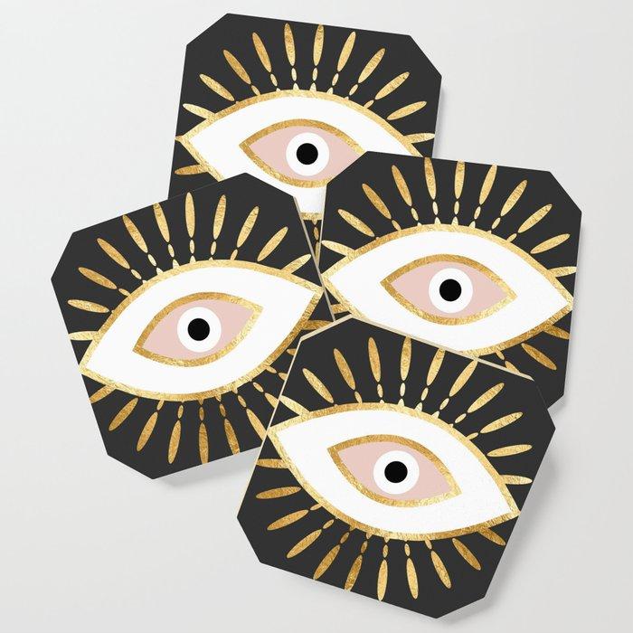 gold foil evil eye in blush Coaster