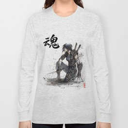Calligraphy SOUL Ghost in the Shell Motoko Ninja Long Sleeve T-shirt