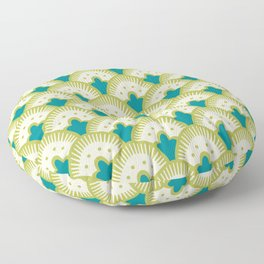Fan Pattern Chartreuse Floor Pillow
