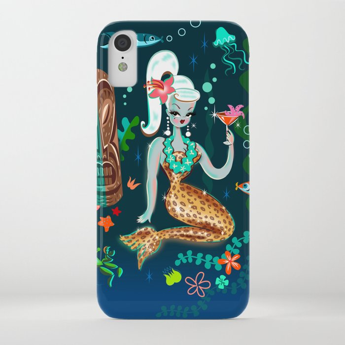 Blonde Leopard Martini Mermaid iPhone Case