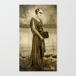 Dark Vintage Portrait: Flor de Muertos Canvas Print
