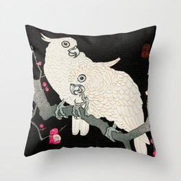 Cockatoo couple on a blossomed tree - Vintage Japanese Woodblock Print Art Throw Pillow