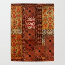 Vintage textile patches Poster