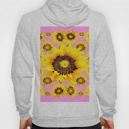 Pink Art Yellow Stylized Sunflowers Pattern Hoody