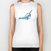 narwhal Biker Tanks featuring narwhal by bunnyandbird