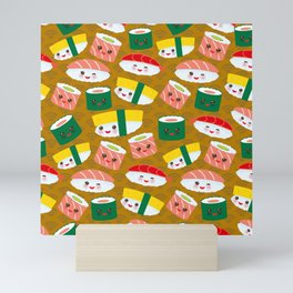 pattern Kawaii funny sushi set with pink cheeks and big eyes, emoji on brown mustard background Mini Art Print