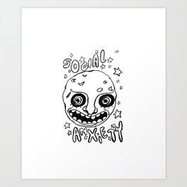 social anxiety black and white Art Print