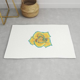 Yellow and Turquoise Rose Rug
