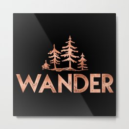 WANDER Rose Gold Trees on Black Metal Print