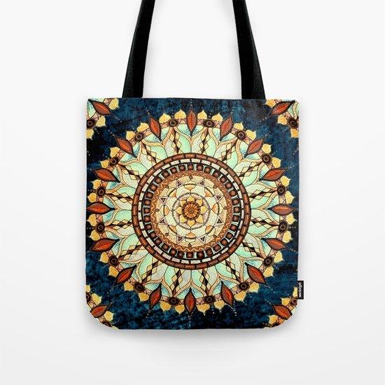 Sketched Mandala Design On A Blue Textured Background Tote Bag