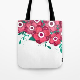 poster with bright flowers. Trendy Design Template. Tote Bag