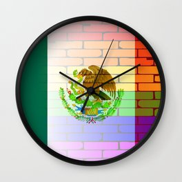 Gay Rainbow Wall Mexico Flag Wall Clock