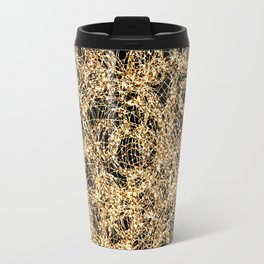 Gold Thread on Black | Abstract Brain Map 3 Travel Mug