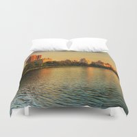 central park Duvet Covers featuring New York Central Park by Esra Meral Demircan