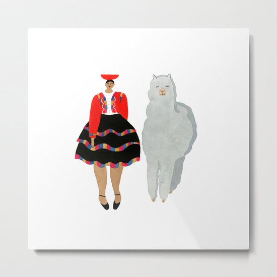 Peruvian Girl and Friend Metal Print