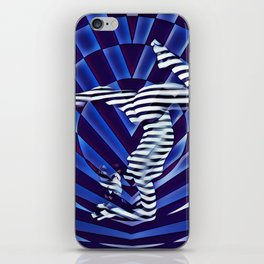 3492-DEW_4906 Blue Nude Striped Figure Naked Yoga Powerful Woman iPhone Skin