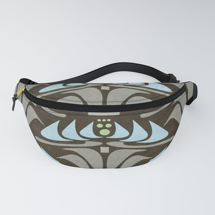 Blue - Arts and Crafts Inspired Stylized Floral Pattern - Susan Weller Fanny Pack