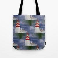lighthouse Tote Bags featuring Lighthouse by Ellyne