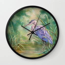 """Solitude"" - Pastel of Great Blue Heron Wall Clock"