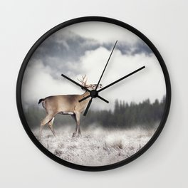 White-tailed deer in winter Wall Clock