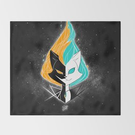 Nightmare/ScribbleNetty (Orange/Turquoise) Throw Blanket