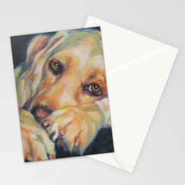 Yellow Labrador Retriever dog art from an original painting by L.A.Shepard Stationery Cards