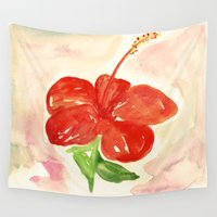 hibiscus Wall Tapestries featuring Hibiscus by ladyberula