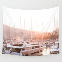 barcelona Wall Tapestries featuring Barcelona waterfront by Snow & Sonder
