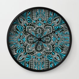White turquoise symmetrical mandala line pattern Wall Clock