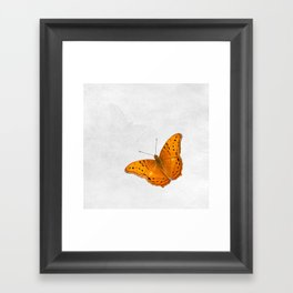 Butterfly and ghost on textured white Framed Art Print
