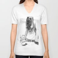 mirror V-neck T-shirts featuring Mirror by Skye Rao
